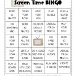 Free Printable Screen Time Bingo Game For Teaching