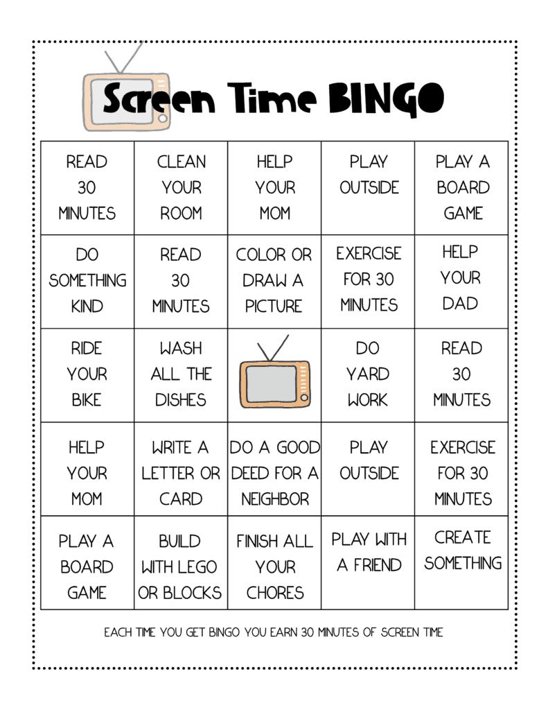 Free Printable Screen Time Bingo Game For Teaching