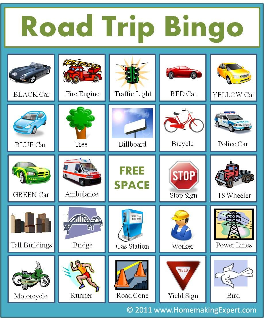 Free Road Trip Bingo Game For Kids - Homemaking Expert