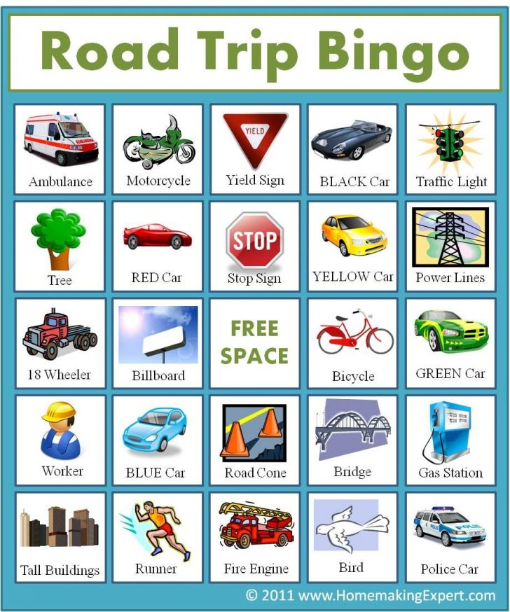 Travel Bingo Cards Car Makes Printable Free