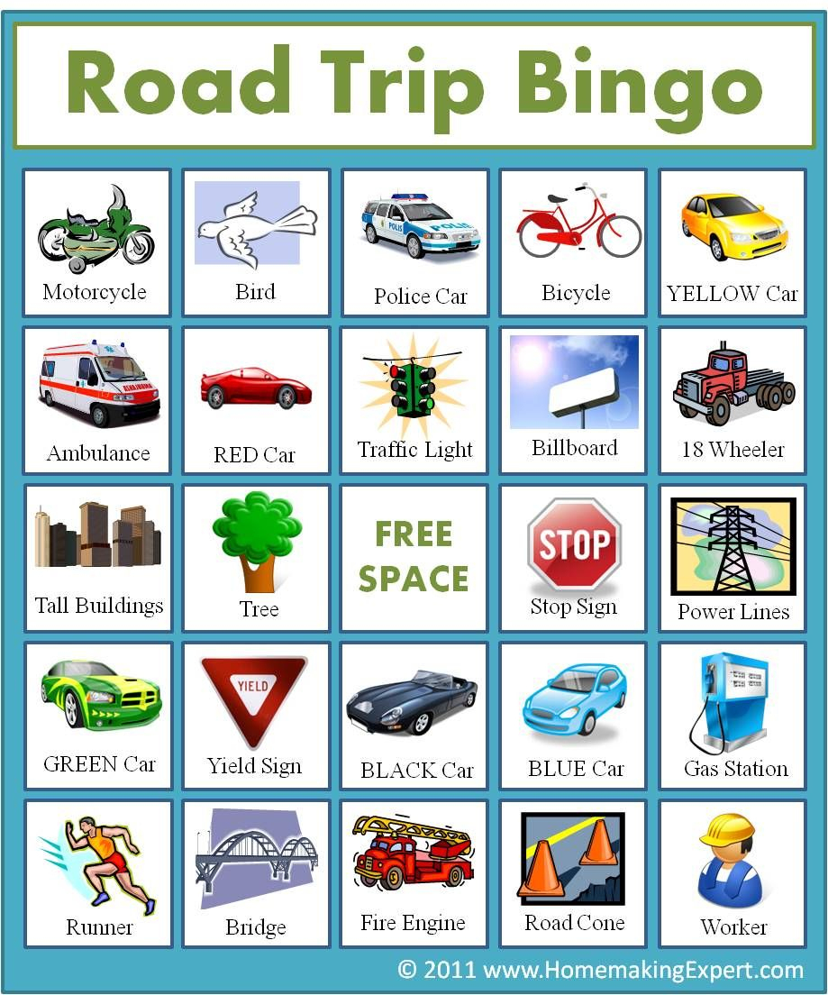 Free Road Trip Bingo Game For Kids - Homemaking Expert (With