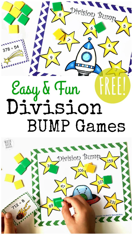 Free Simple Printable Division Games {1-2 Digit Divisors}