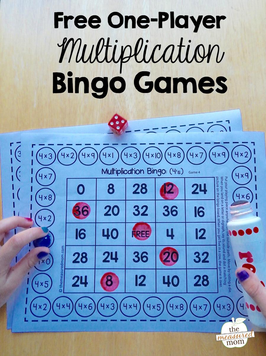 Free Single-Player Multiplication Bingo Games - The Measured Mom