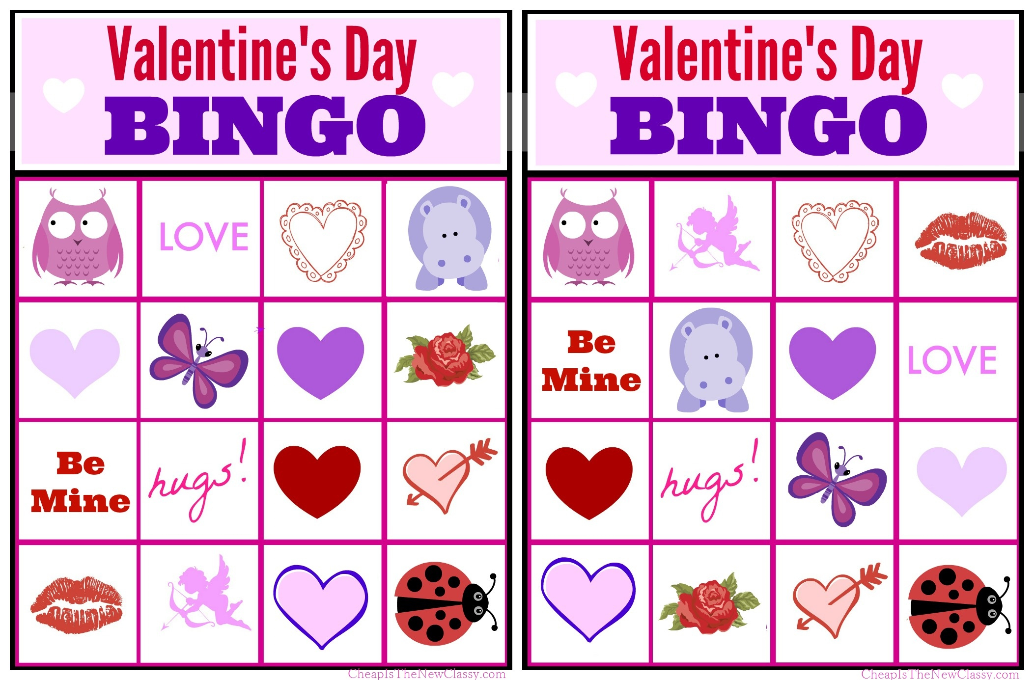 Free Valentine Bingo Game Printable Collection For Kids