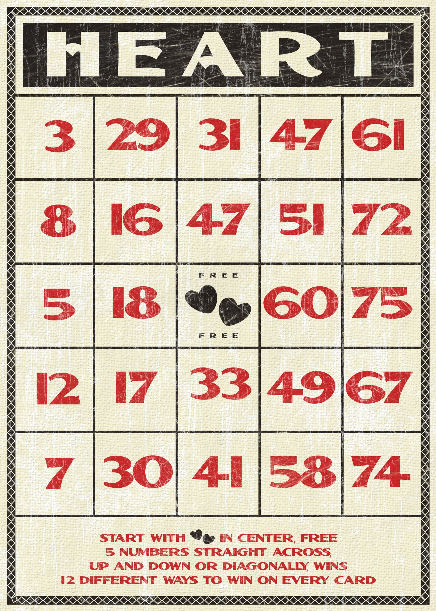 Free Valentines Vintage Style Bingo Card | Vintage