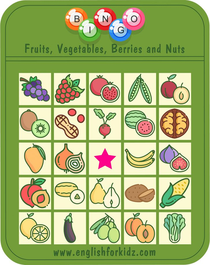 Printable Fruit and Vegetable Bingo Cards