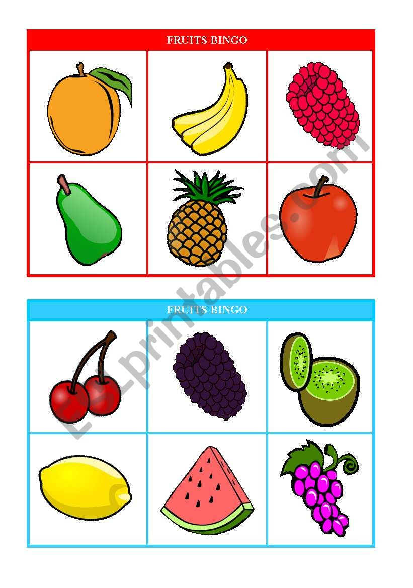 Fruits Bingo (Cards 1 & 2 Of 10) Fully Editable - Esl
