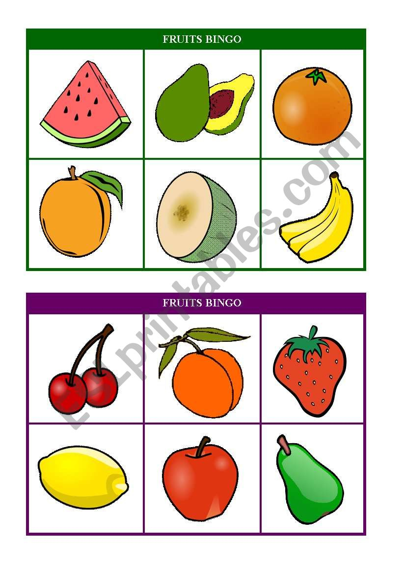 Fruits Bingo (Cards 7 & 8 Of 10) Fully Editable - Esl
