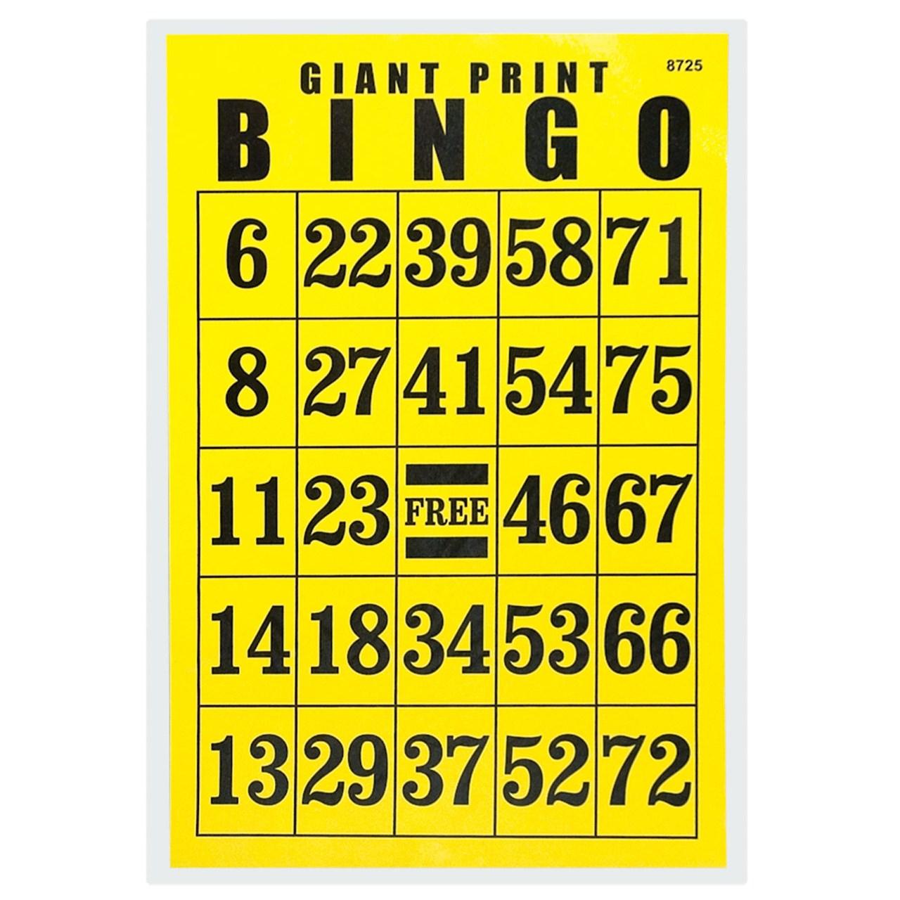 Giant Print Bingo Card - Black On Yellow Background