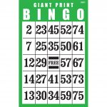 Giant Print Bingo Card  Green