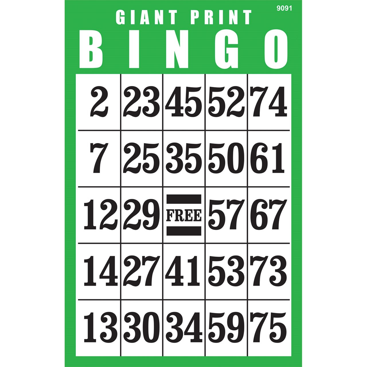 Giant Print Bingo Card- Green