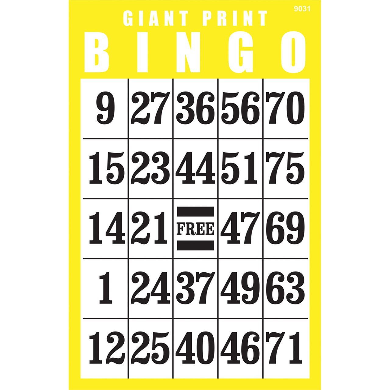 Giant Print Bingo Card- Yellow