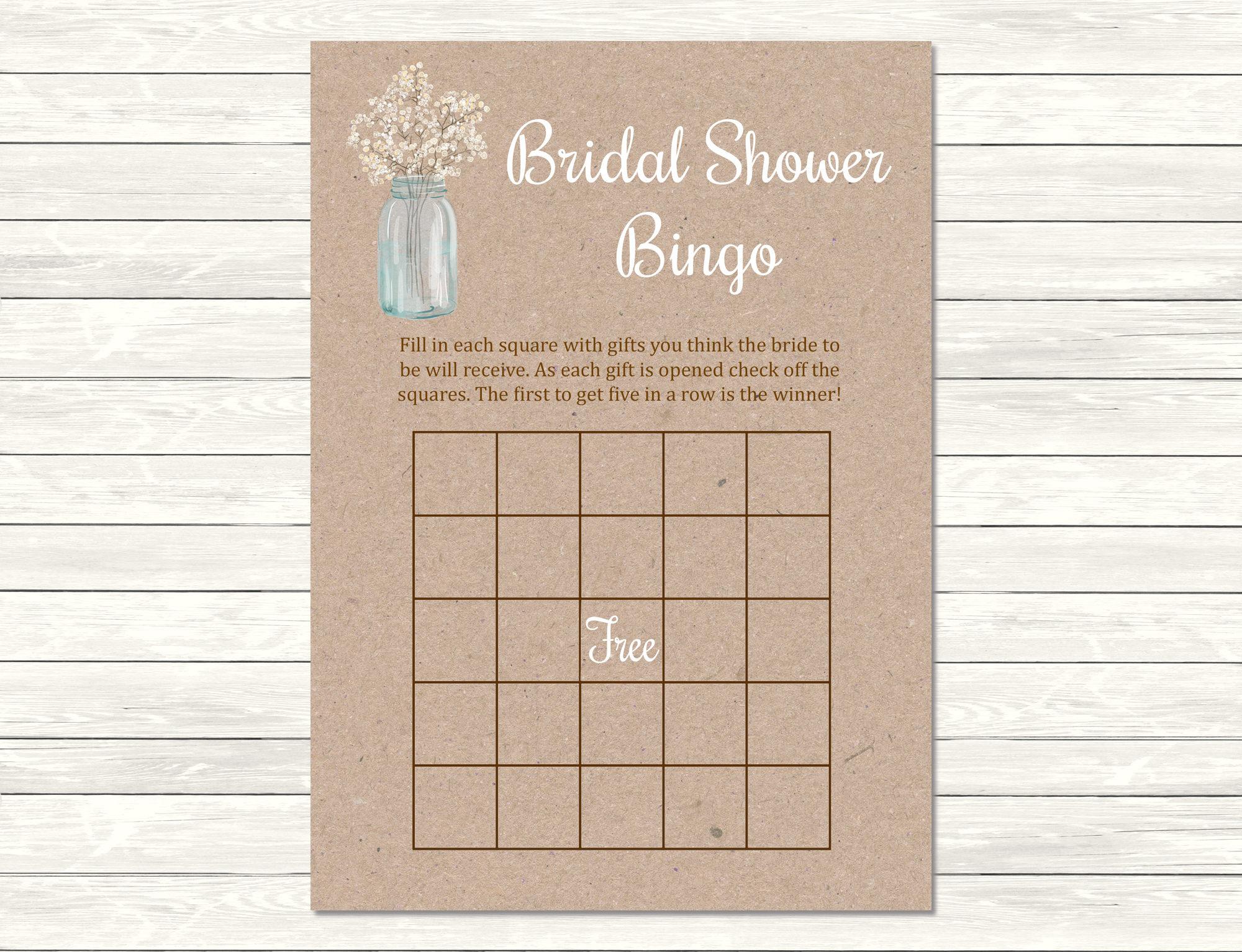 Gypsophila Mason Jar Bridal Shower Bingo Game, Printable Floral Bingo  Activity, Rustic Bridal Bingo Cards, Kraft, Instant Download 101-A