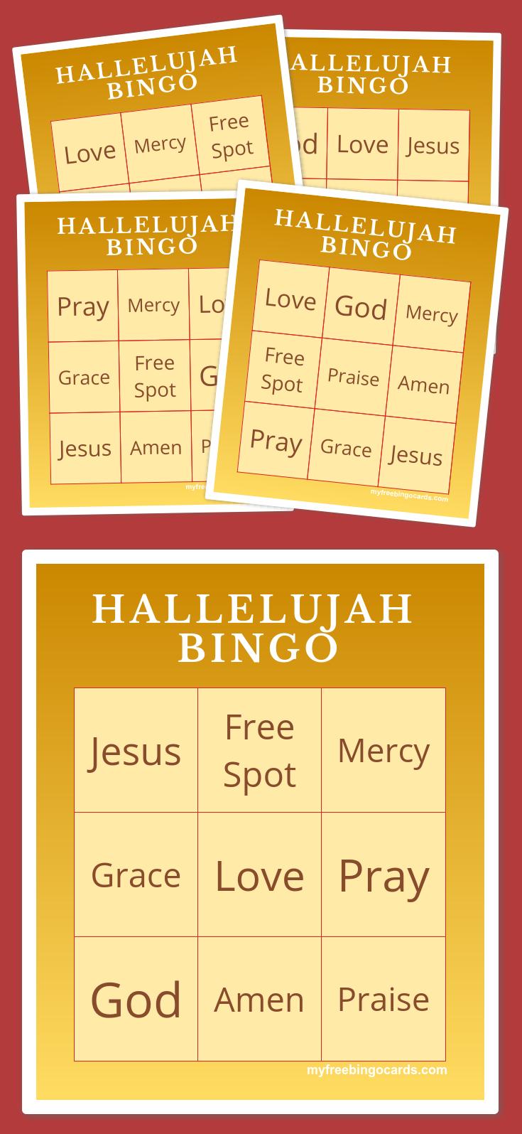 Hallelujah Bingo   Bingo Cards Printable, Free Printable