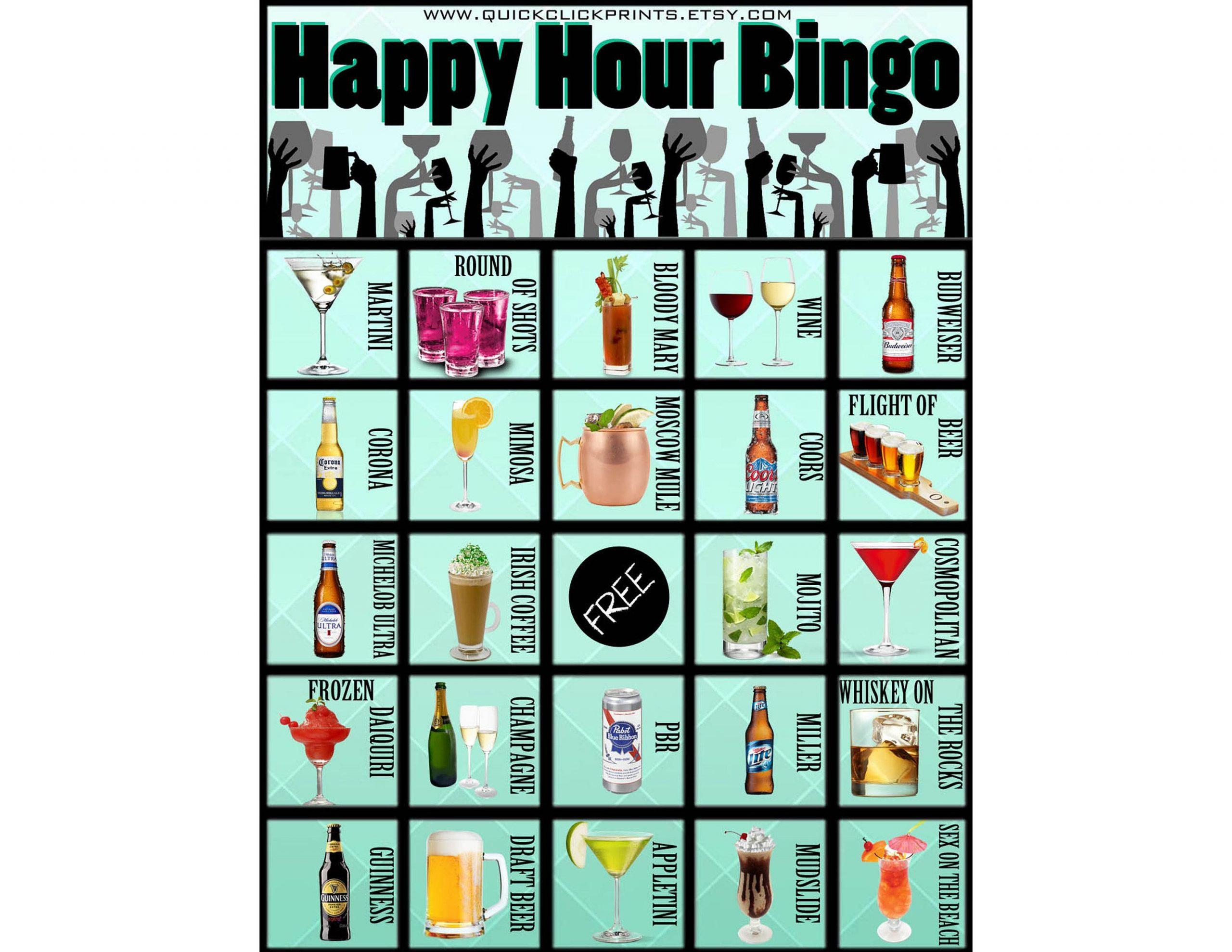 Happy Hour Bingo -28 Cards -Pub Crawl -Beer -Cocktail