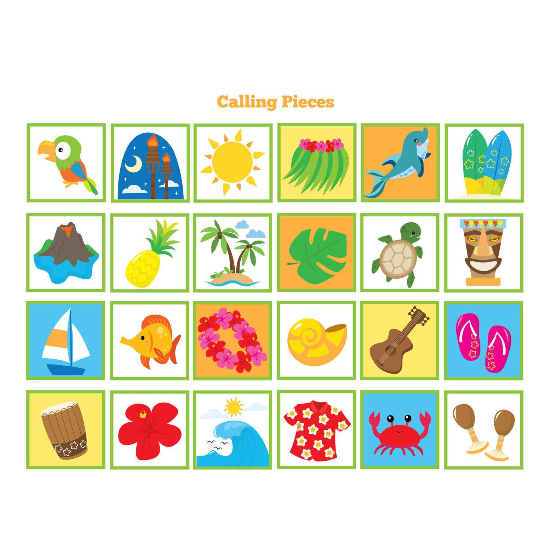 Hawaiian Bingo Game - Kid's Printable Bingo Game, 60 Cards