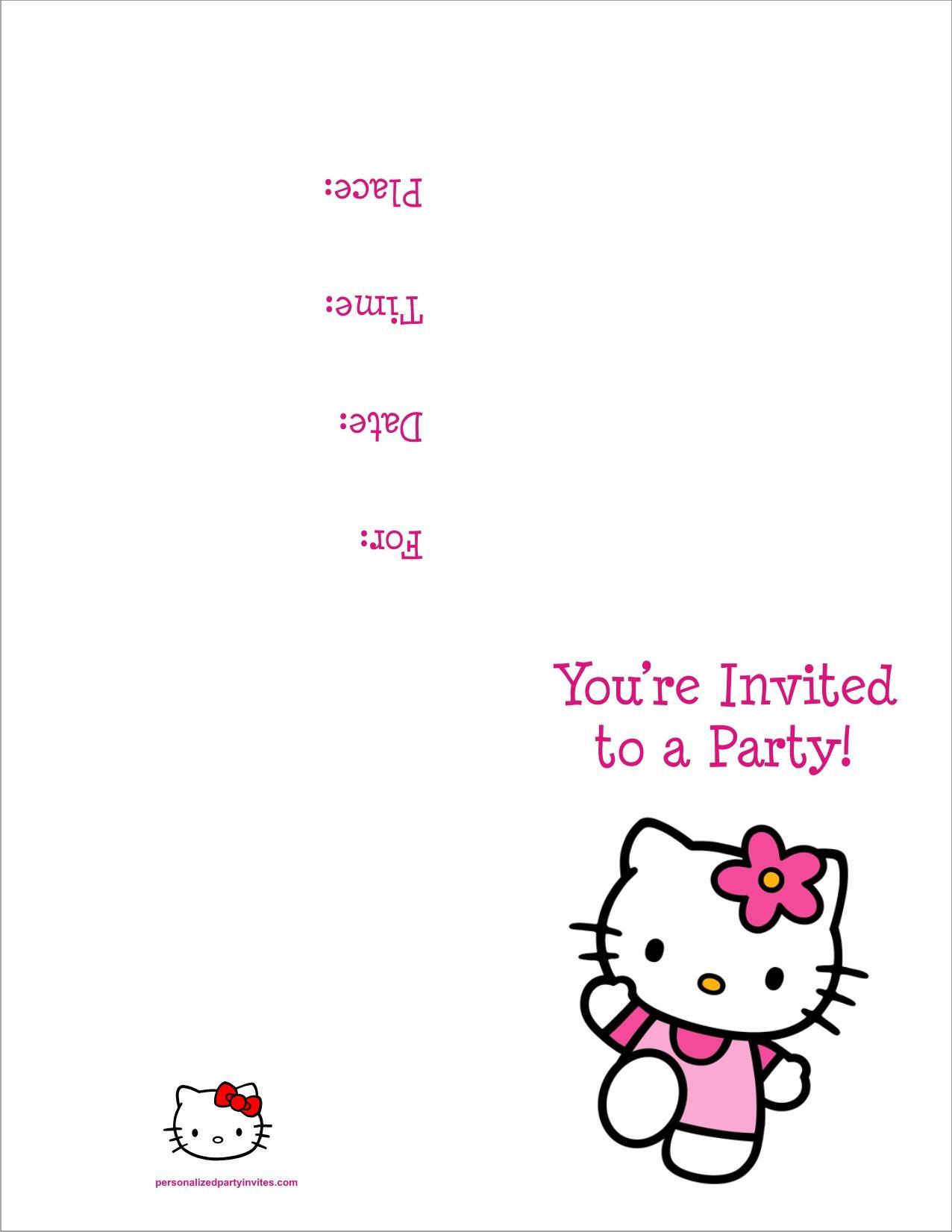 Hello Kitty Free Printable Birthday Party Invitation   Kids