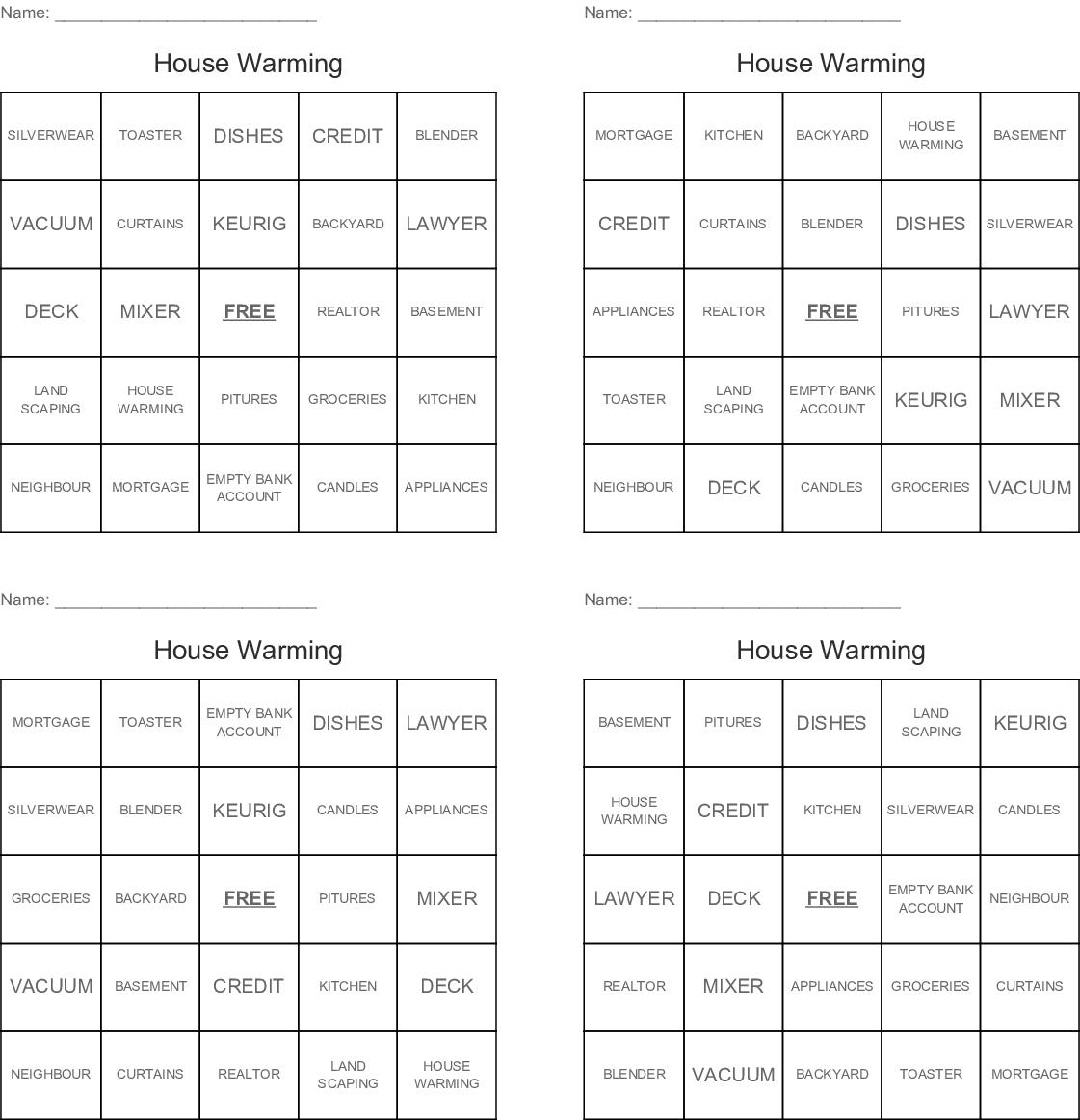 Housewarming Bingo - Wordmint