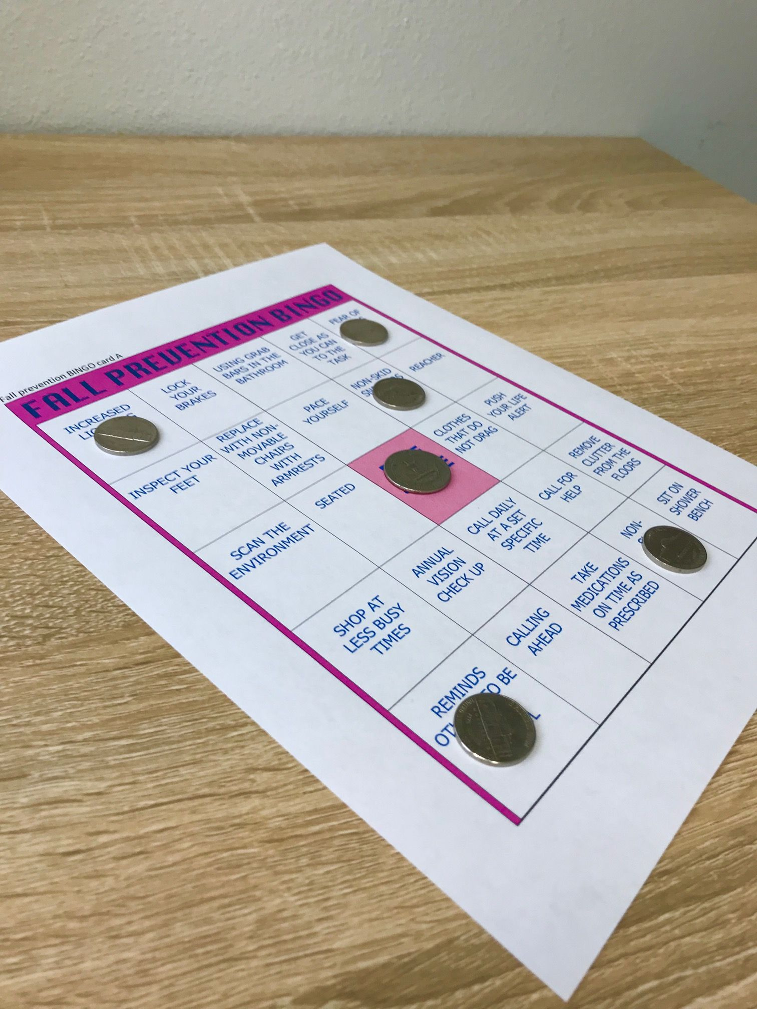 How To Make Your Own Fall Prevention Bingo Game   Bingo