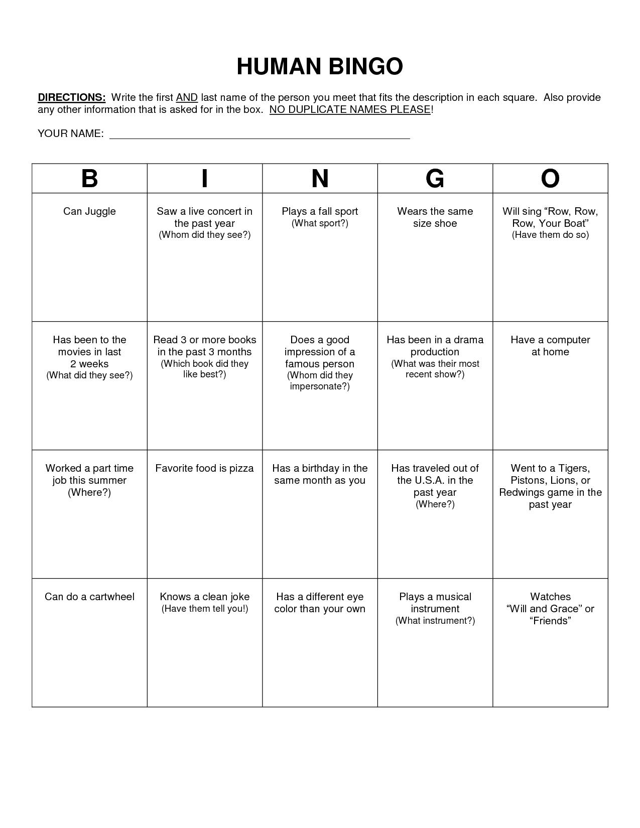 Human Bingo Scavenger Hunt Template | Human Bingo, Bingo