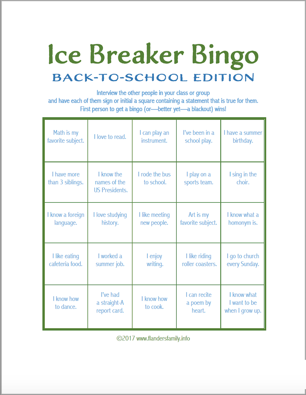 Ice Breaker Bingo: Back-To-School Version - Flanders Family