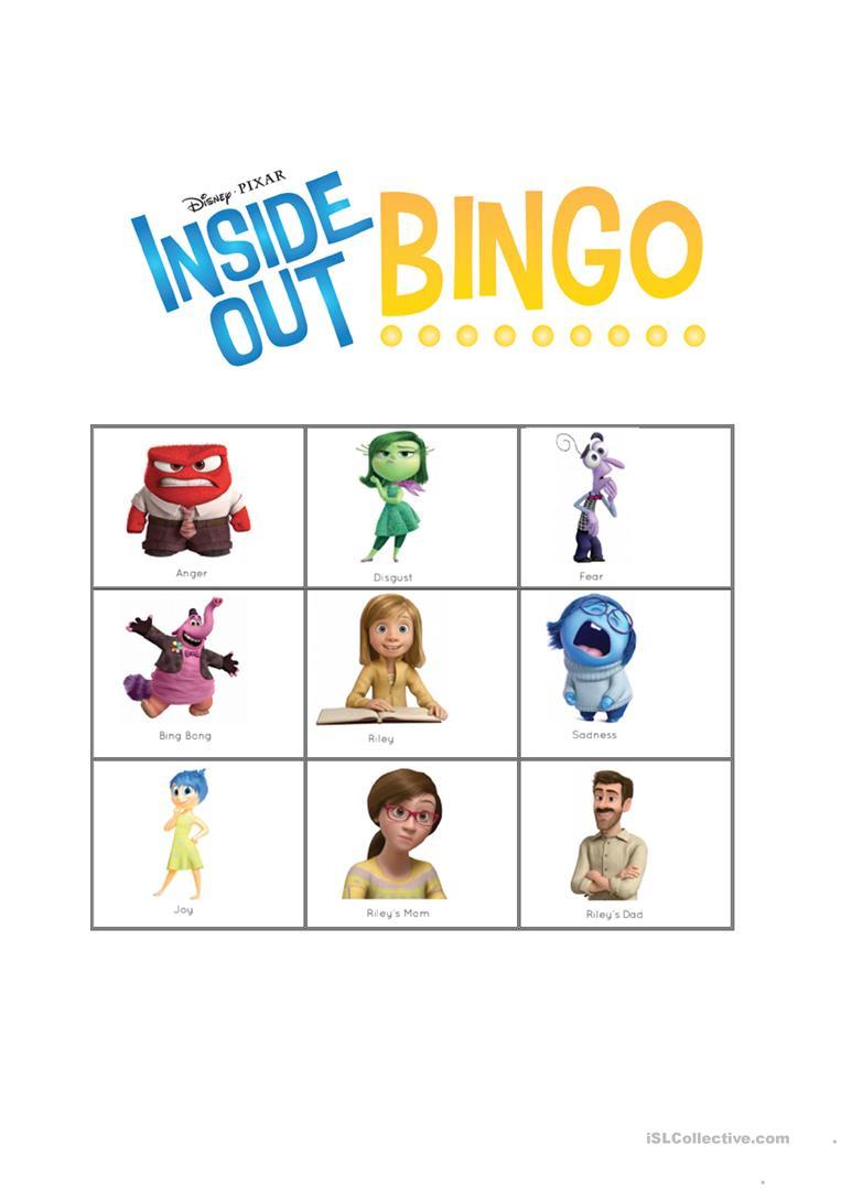 Inside Out Bingo Feelings - English Esl Worksheets For