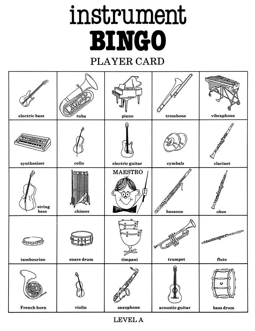 Instrument Bingo Game Northwest Music Http://www