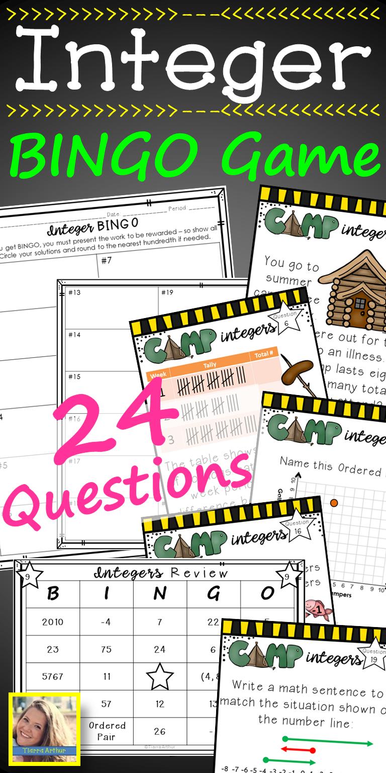Integer Bingo Game | Bingo Games, Integers, Games