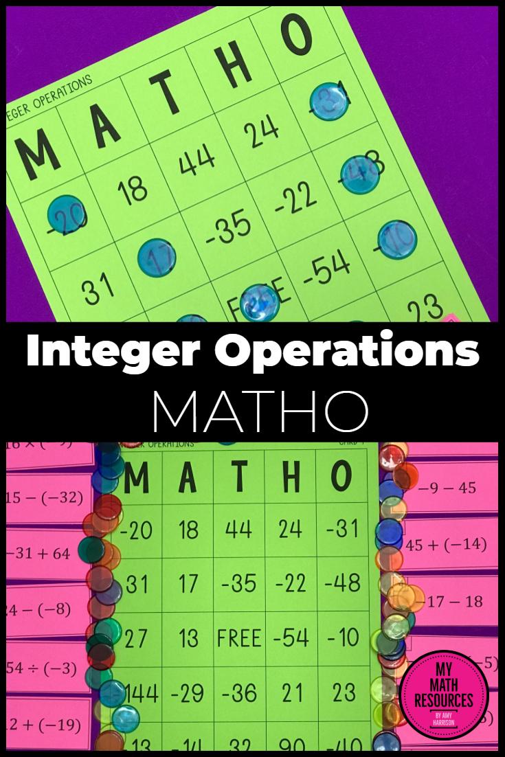 Integer Operations Matho (Bingo Game) | Middle School Math