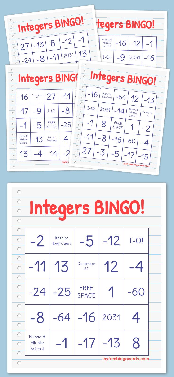 Integers Bingo! | Free Printable Bingo Cards, Bingo Card