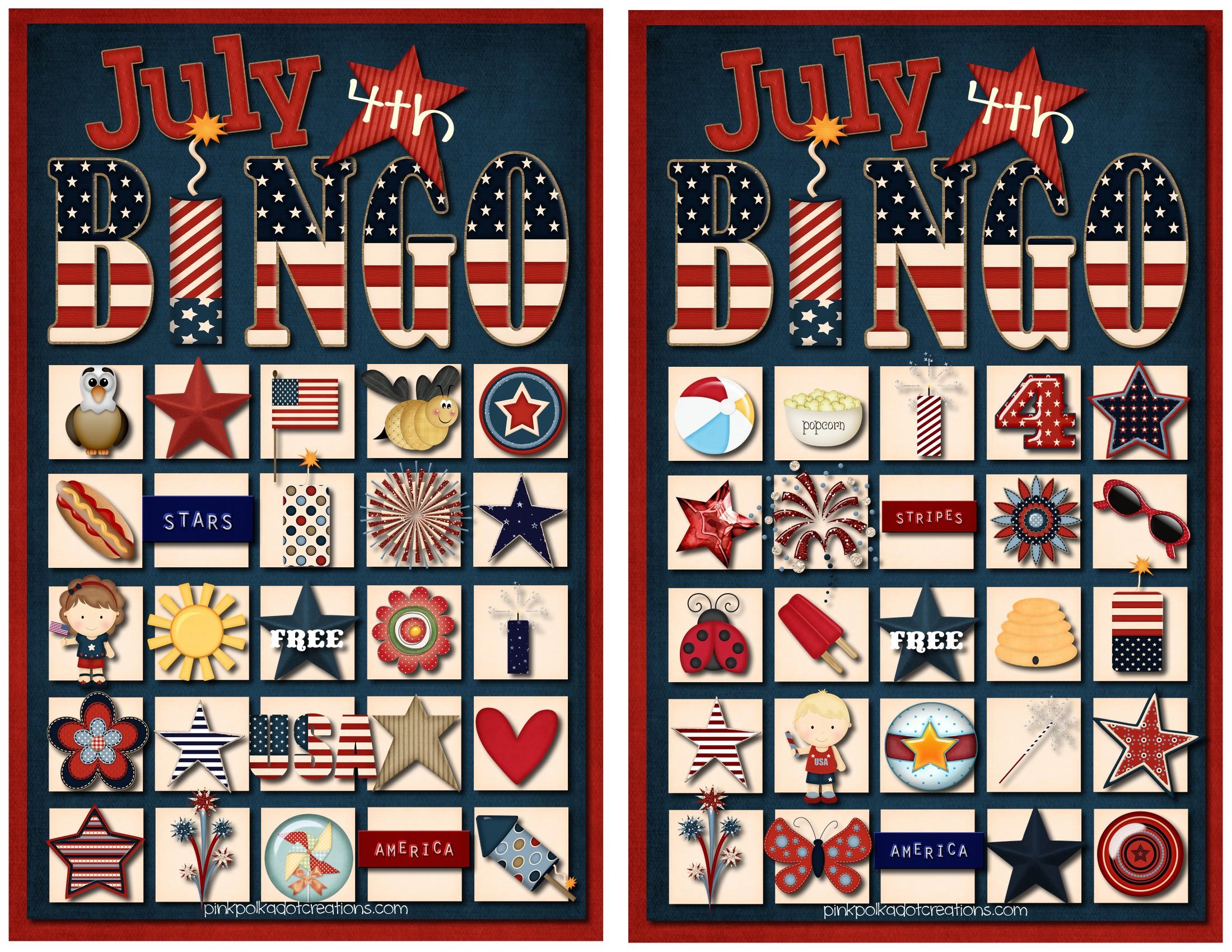 July 4Th Bingo Game - Pink Polka Dot Creations