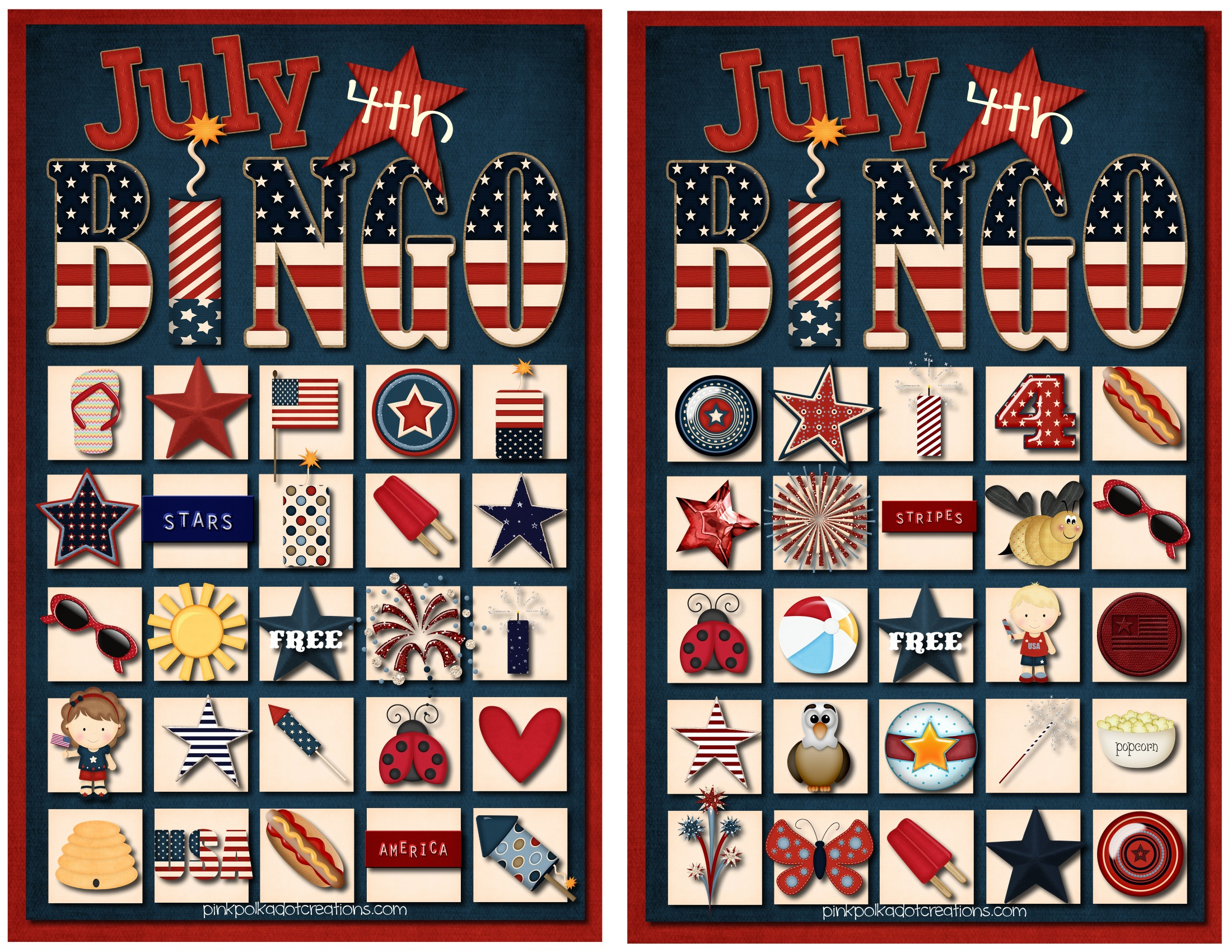 July 4Th Bingo Game - Pink Polka Dot Creations