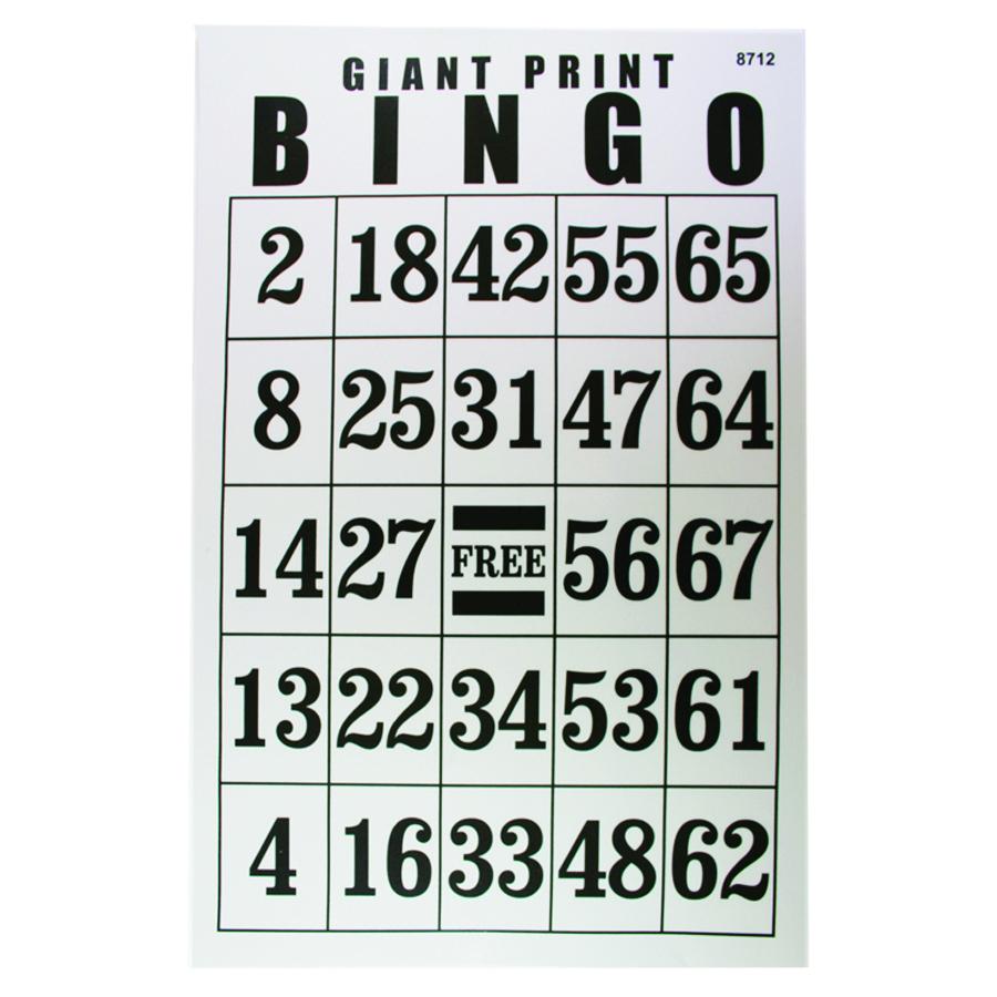 Jumbo Laminated Large Print Bingo Card