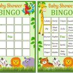 Jungle Baby Shower Bingo, 60 Jungle Baby Shower Bingo Cards