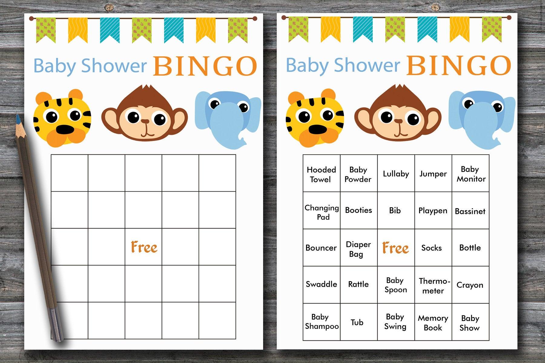 Jungle Baby Shower Bingo, 60 Jungle Baby Shower Bingo Cards Zoo Baby Shower  Bingo Card ,printable Blank Bingo Cards& Prefilled Cards, Bg-180