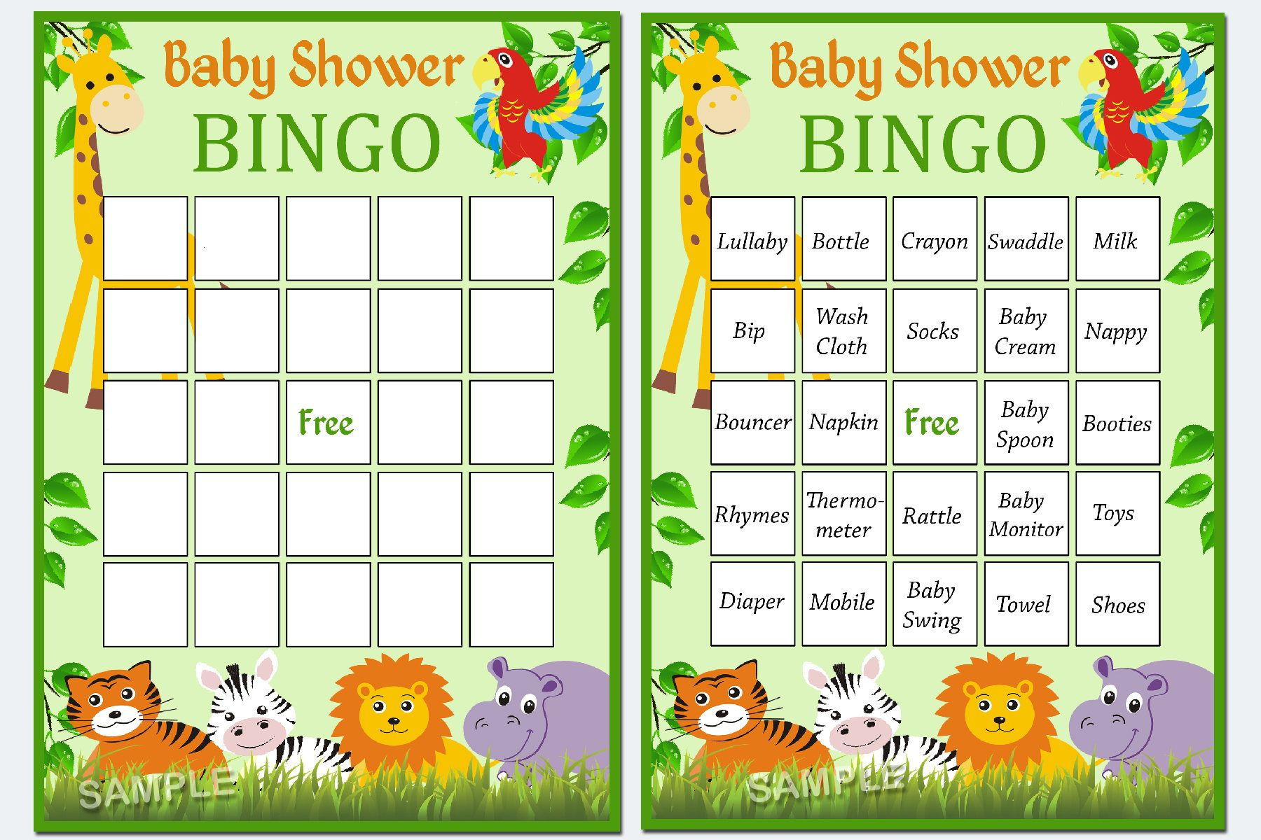 Jungle Baby Shower Bingo, 60 Jungle Baby Shower Bingo Cards