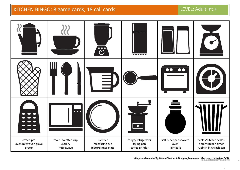 Kitchen Bingo - English Esl Worksheets For Distance Learning