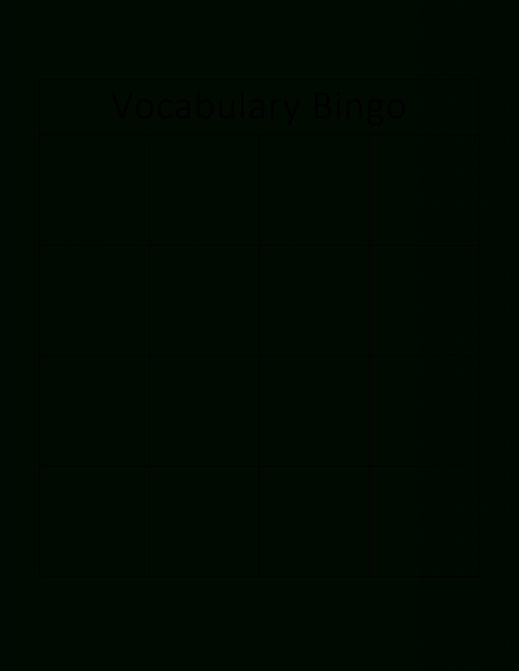 Kostenloses Vocabulary Bingo Card