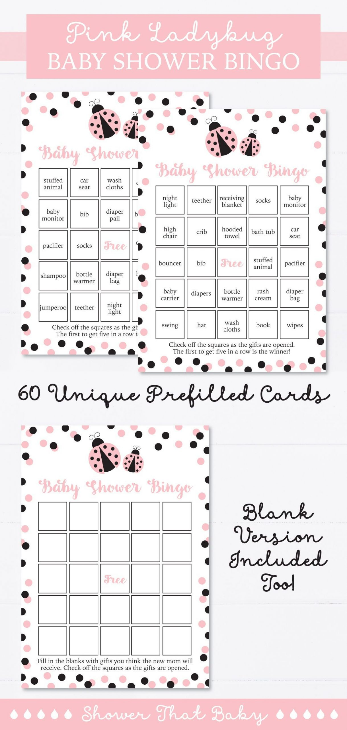 Ladybug Baby Shower Bingo Cards - Printable Blank Bingo