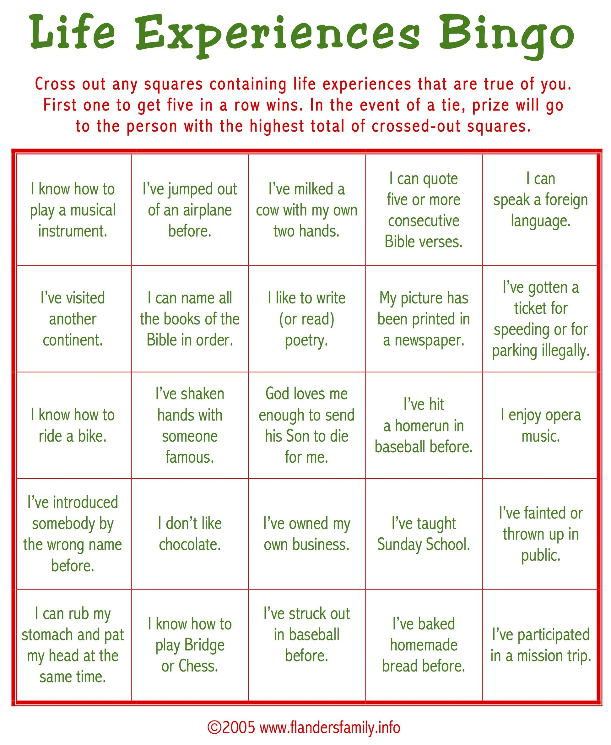 Life Experience Bingo | Ice Breaker Games For Adults