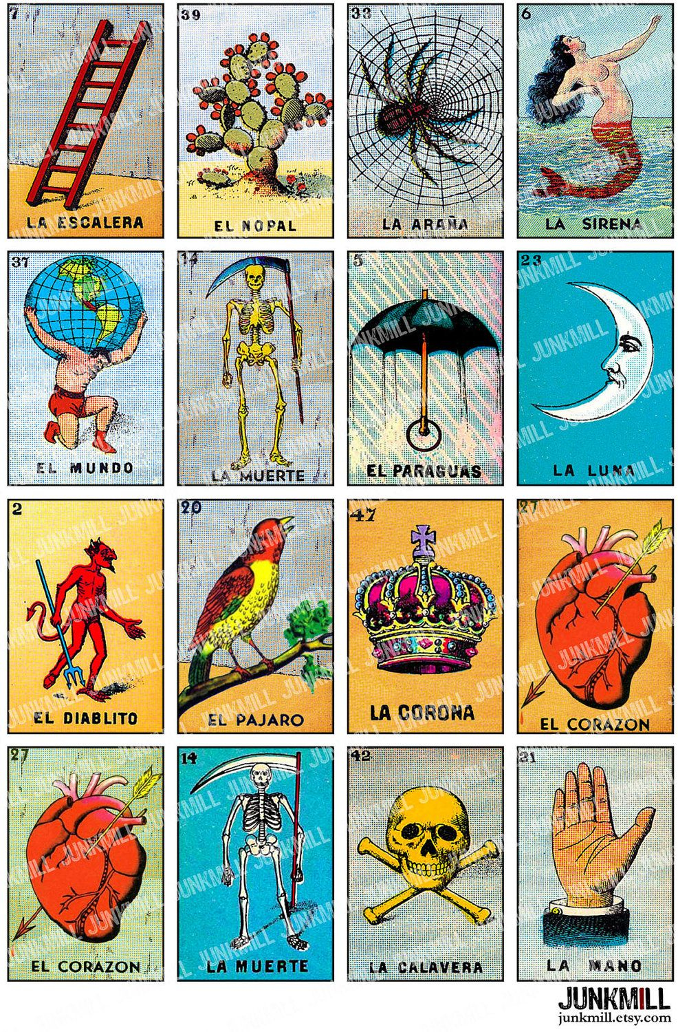 Loteria - Collage Sheet - Vintage Loteria Cards, Mexican