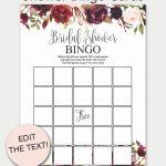 Marsala Printable Bridal Shower Bingo Cards | Bridal Shower