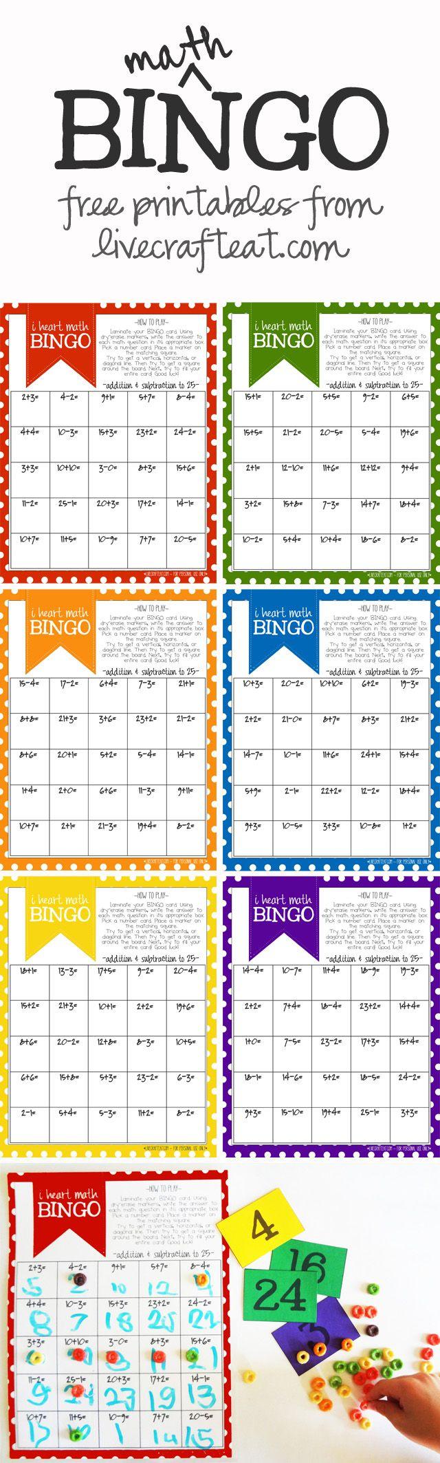 Math Bingo Printable For Kids - Free | Math Bingo, Math For