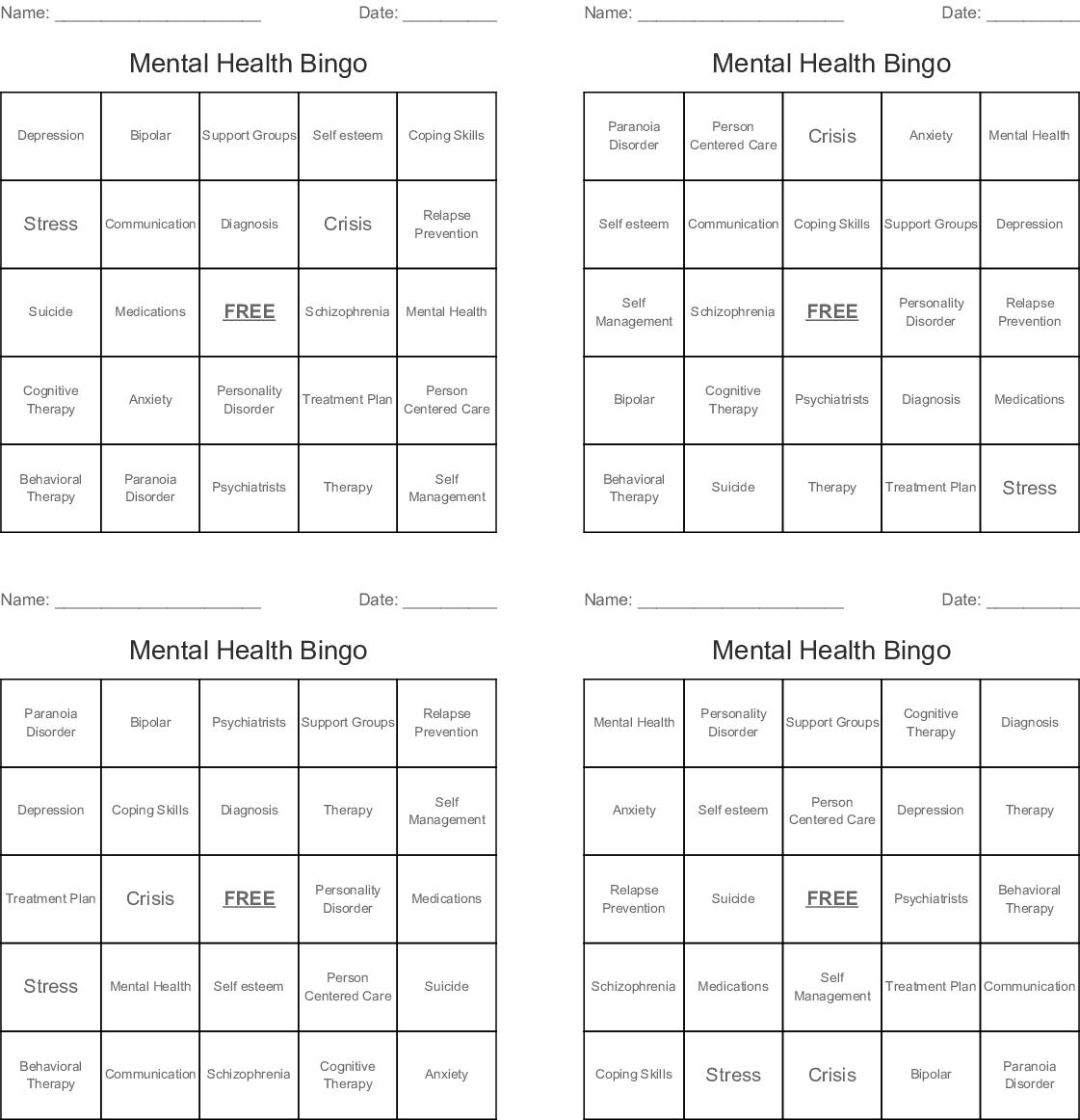Mental Health Bingo - Wordmint