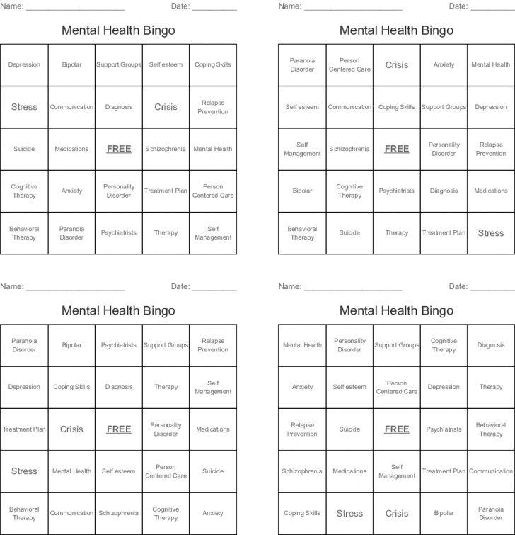 Health Bingo Cards Printable