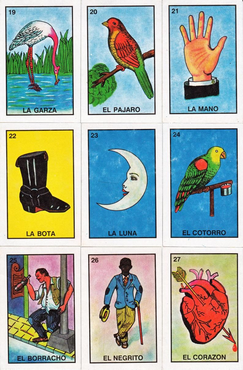 Mexican Loteria Cards, Six Pages Of Different Cards