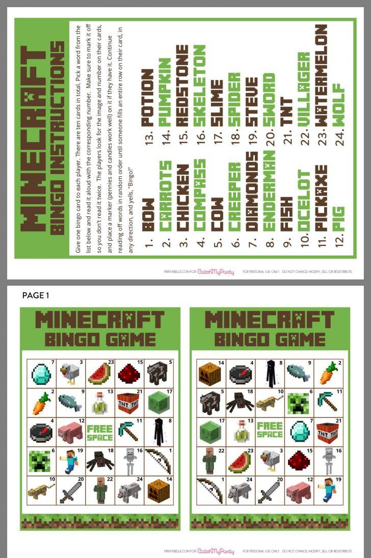 Printable Minecraft Bingo Cards Free