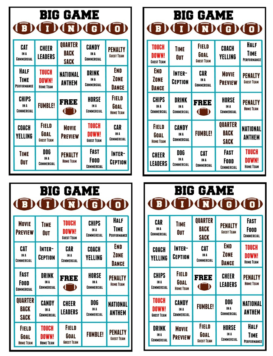 Monster Free Printable Football Bingo Cards | Felix Blog