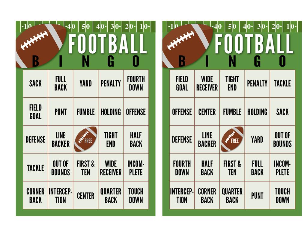 Monster Free Printable Football Bingo Cards | Felix Blog