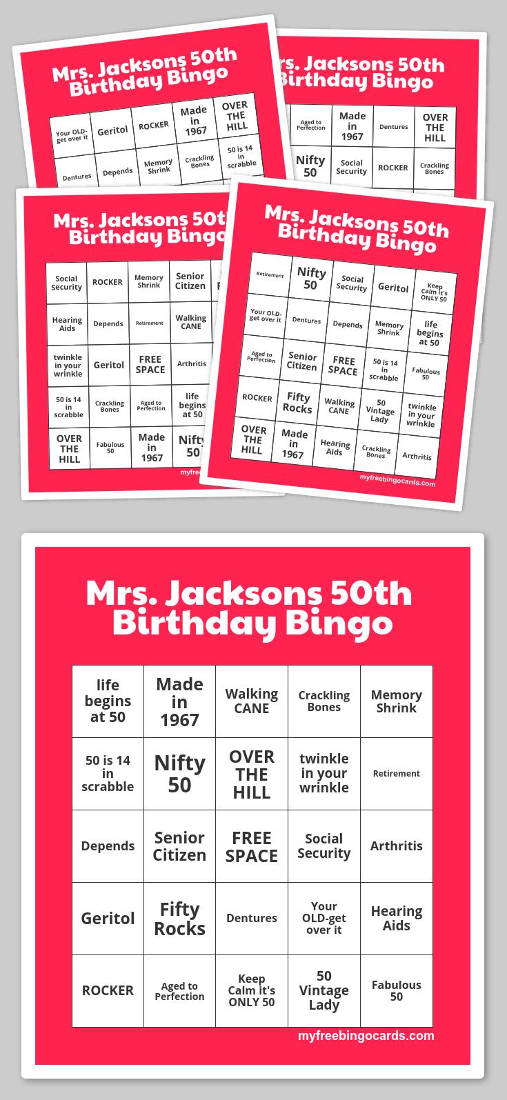 Mrs. Jacksons 50Th Birthday Bingo   Free Printable Bingo